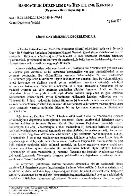 BDDK yetki yazısı 1.sayfa