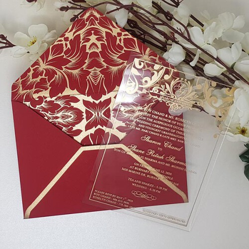 Acrylic wedding invitations from YWI are available in clear Acrylic, frosted look with various colors such as golden, silver, etc. Order today for fast shipping!!   Read More: https://www.yourweddinginvitation.com/collections/acrylic-wedding-invitations